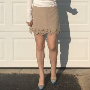 Faux suede tan skirt with eyelet detail